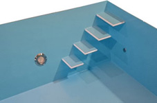 Schwimmbecken schwebende Stufen