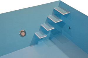 4-stufige Treppe mit schwebenden Stufen zudem mit rutschhemmender Oberfläche. Zudem optional mit farblich abgesetzten Kanten erhältlich.