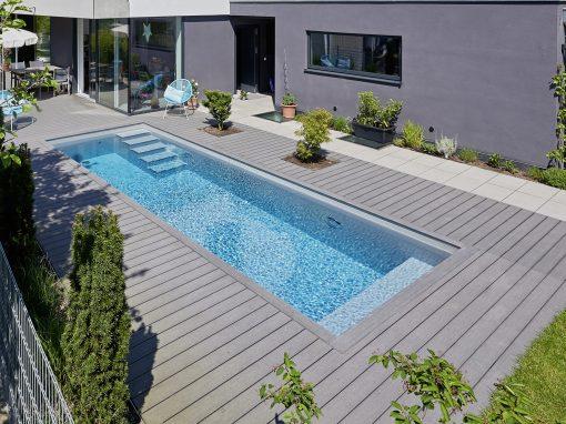 2,8 m x 6,8 m System Schwimmbecken in grau